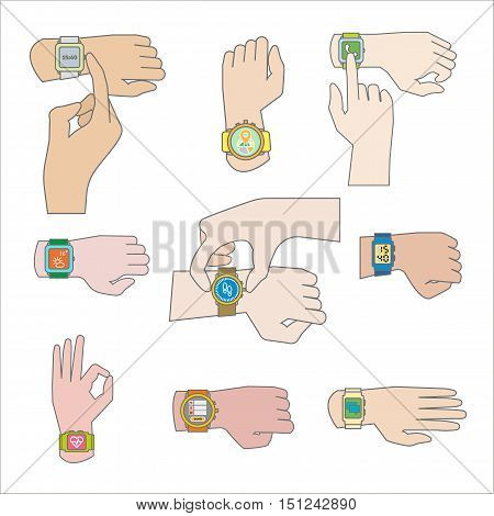 Set of gestures for watch. Tap fingers, press buttons push and sliding, click and touch . Flat icons. Vector illustration isolated on white background.