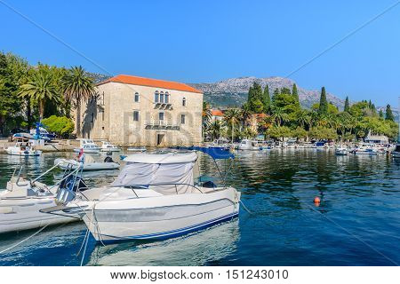 Waterfront view at town Kastel Stari, small touristic place in suburb of town Split, Croatia Europe.