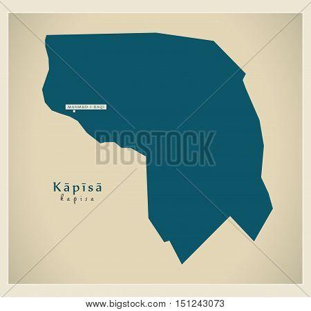 Modern Map Kapisa Afghanistan AF vector high res
