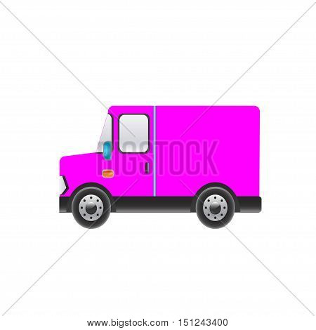 Beautiful pink truck on a white background. Vector illustration
