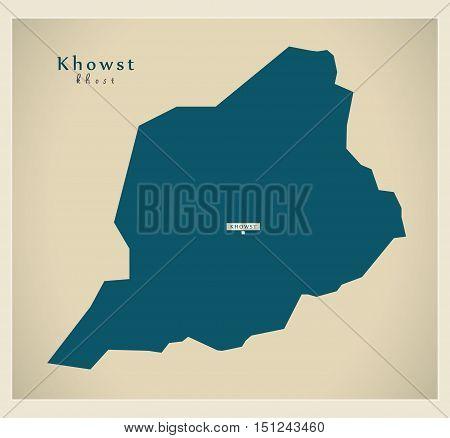 Modern Map Khowst Afghanistan AF vector high res