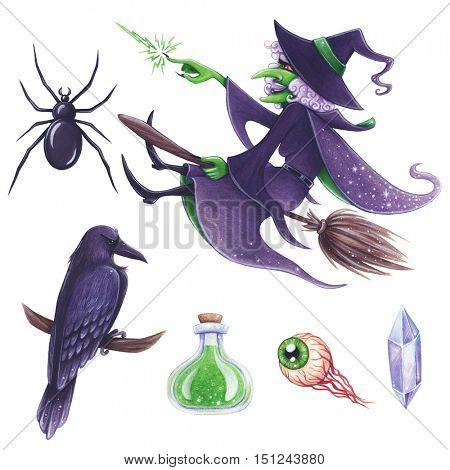 Halloween hand-drawn illustration. Evil Witch magic attributes set.