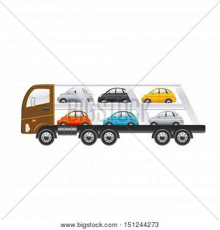 Beautiful truck for transportation of cars on a white background. Vector illustration