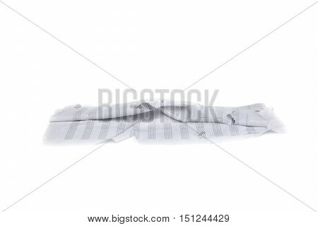 paper white wet water wrinkled crumpled on white background