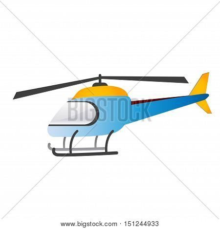 Blue helicopter on a white background. Vector illustration