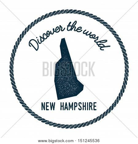 New Hampshire Map In Vintage Discover The World Rubber Stamp. Hipster Style Nautical Postage Stamp,