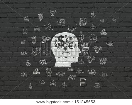 Business concept: Painted white Head With Finance Symbol icon on Black Brick wall background with  Hand Drawn Business Icons