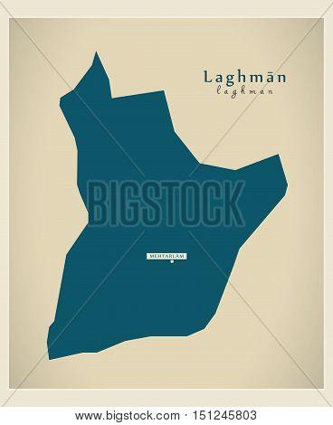 Modern Map Laghman Afghanistan AF vector high res