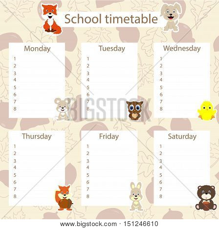 school timetable with animal stickers on autumn background with acorns