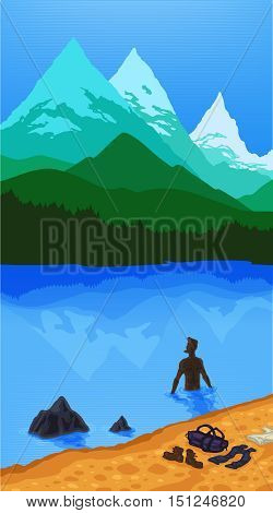 Vector color landscape of mountains and woods and the water. Character tourist bathes in the lake sea ocean. Beach sand Sea Mountain Forest reflection tourist character. Landscape nature background.