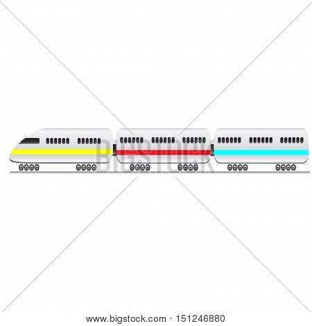 Passenger train on a white background. Vector illustration