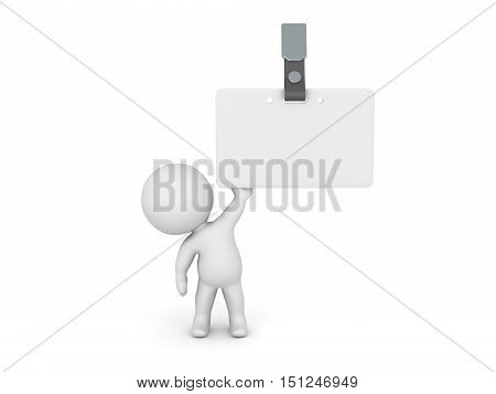 3D character holding up a large white name badge. Isolated on white background.