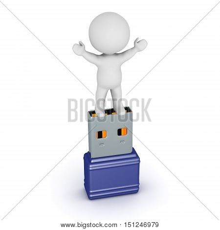 3D character and a USB stick. Isolated on white background.