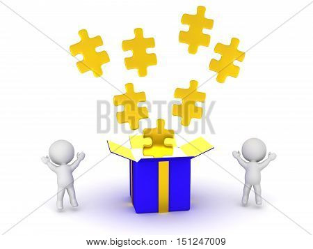 3D characters cheering and a large open gift box with gold puzzle pieces. Isolated on white background.