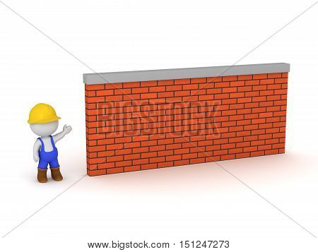 3D character in construction clothing showing a brick wall. Isolated on white background.