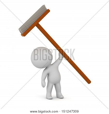3D charcter holding up a large broom. Isolated on white background.