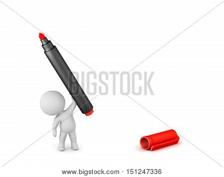 3D character holding up a large red marker. Isolated on white background.