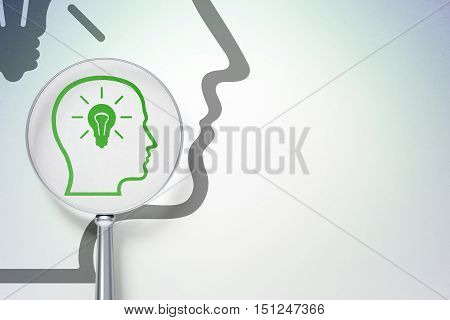 Business concept: magnifying optical glass with Head With Lightbulb icon on digital background, empty copyspace for card, text, advertising, 3D rendering