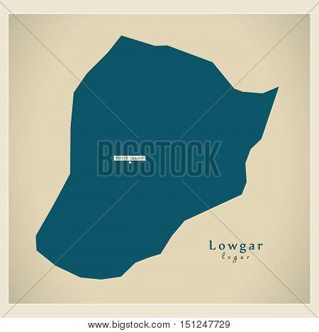 Modern Map Lowgar Afghanistan AF vector high res