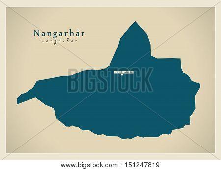Modern Map Nangarhar Afghanistan AF vector high res