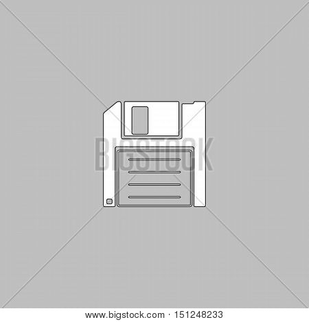 Floppy disk Simple line vector button. Thin line illustration icon. White outline symbol on grey background