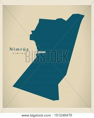 Modern Map Nimruz Afghanistan AF vector high res