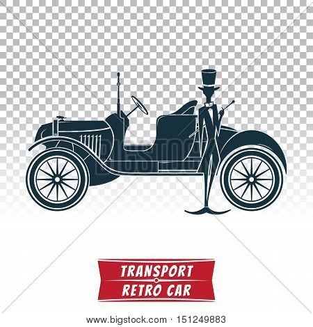 Vector image of silhouette of a retro car with driver