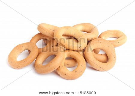 Bread Rings On White.
