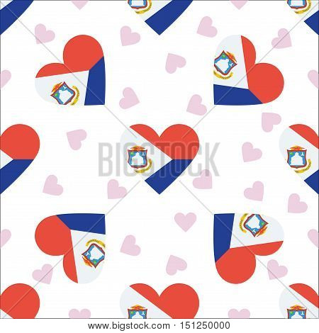 Sint Maarten Independence Day Seamless Pattern. Patriotic Background With Country National Flag In T