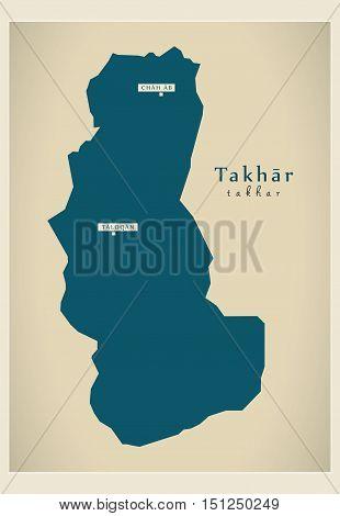 Modern Map Takhar Afghanistan AF vector high res
