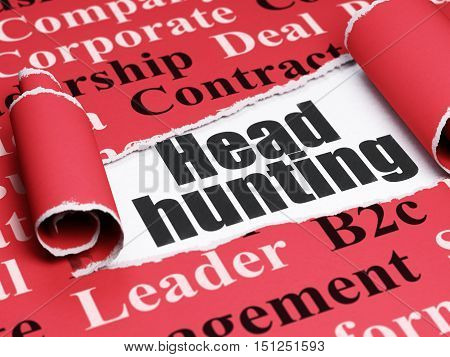 Business concept: black text Head Hunting under the curled piece of Red torn paper with  Tag Cloud, 3D rendering
