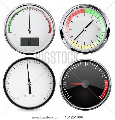 Universal blank gauge. Set of round devices. Vector illustration isolated on white background