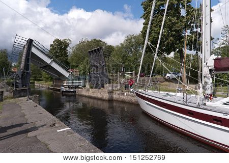 Forsvik, Sweden - August 11, 2016: Old Lock Of The Goeta Canal, The Greatest Historical Site Of Swed