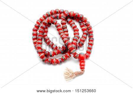Buddhist Mala Prayer Beads from bone yak. Isolated on white.
