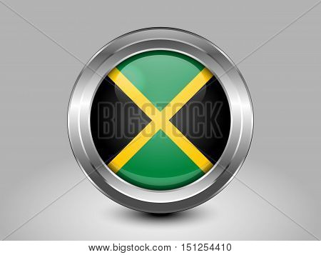 Flag Of Jamaica. Metal And Glass Round Icon