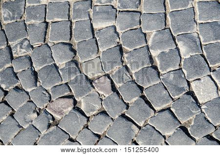 gray Cobbled street for background or texture