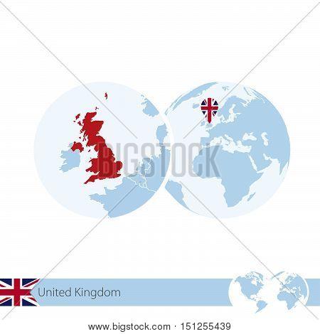 United Kingdom On World Globe With Flag And Regional Map Of United Kingdom.