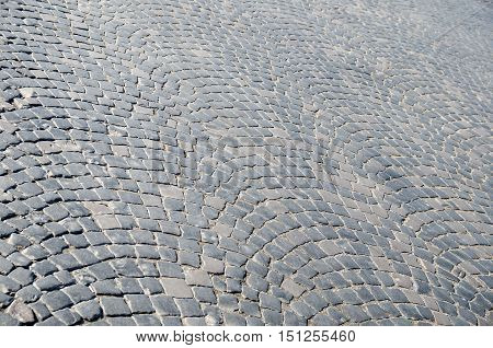 view of old gray Cobbled street for background or texture