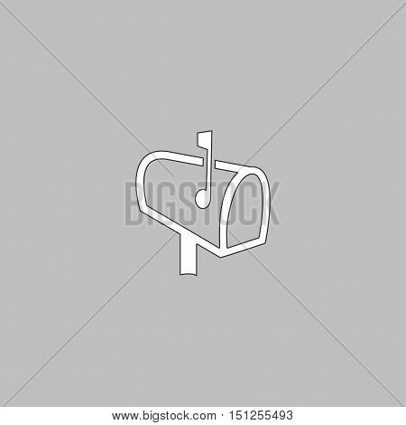 Mailbox Simple line vector button. Thin line illustration icon. White outline symbol on grey background