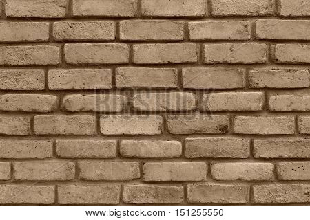 grooved brick texture of sepia color closeup for background and for wallpaper