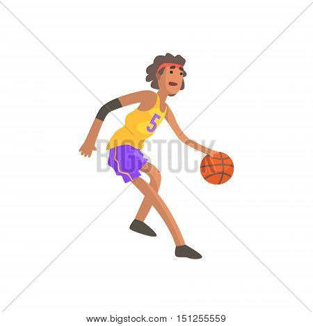 Basketball Player In Red Headband Action Sticker. Childish Cartoon Character In Cute Design Isolated On White Background