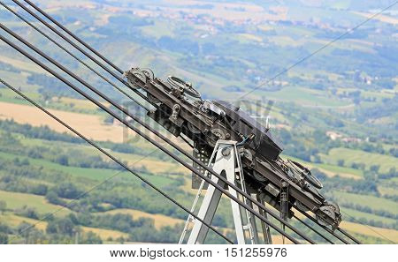 Big Cables And Pulleys With Gears Of The Mountain Cable Car