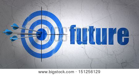 Success time concept: arrows hitting the center of target, Blue Future on wall background, 3D rendering
