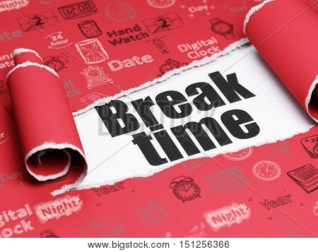 Timeline concept: black text Break Time under the curled piece of Red torn paper with  Hand Drawing Time Icons, 3D rendering
