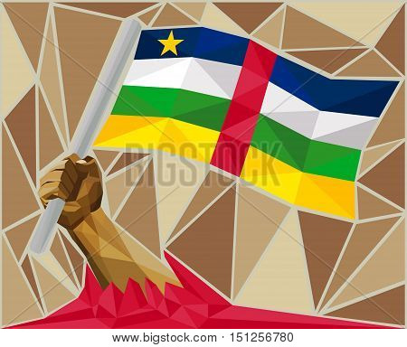 Arm Raising The National Flag Of The Central African Republic