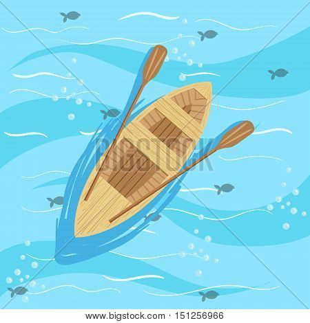 Wooden Boat With Blue Sea Water On Background. Beach Vacation Related Illustration Drawn From Above In Simple Vector Cartoon Style.