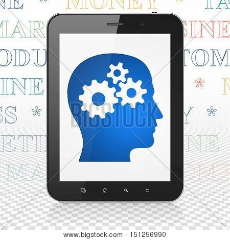 Advertising concept: Tablet Computer with  blue Head With Gears icon on display,  Tag Cloud background, 3D rendering