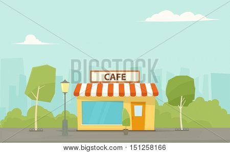 cafe building in the city