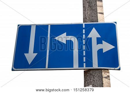 Appropriate traffic lanes at crossroads junction right turn exit ahead isolated blue road sign white arrows