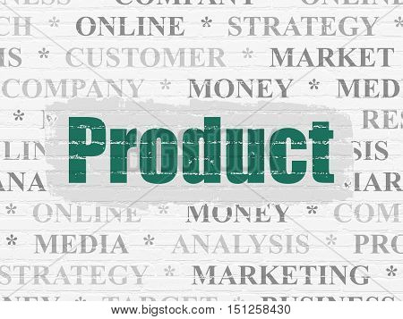 Marketing concept: Painted green text Product on White Brick wall background with  Tag Cloud